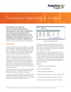 Transaction Reporting Datasheet