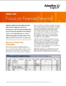 Data Sheet Adaptive Insights pour les Services Financiers